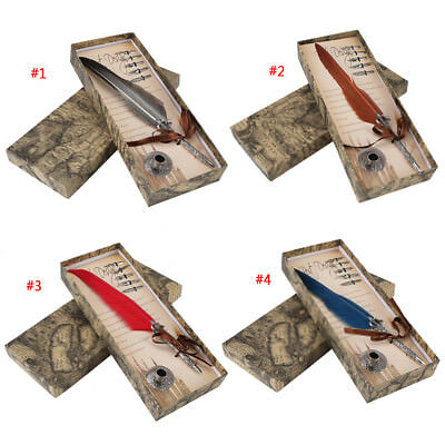 Feather Quill Dip Pen Set Calligraphy Writing Pen with 5 Nibs Gift Box 4 Colors