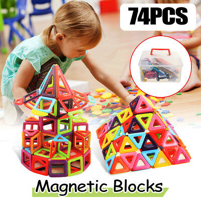 74pcs Magnetic Building Blocks Construction Children Toys Educational Block Kids