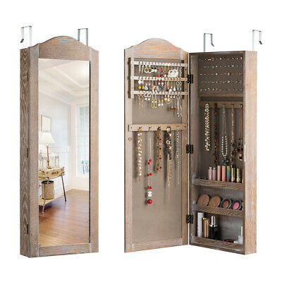 Mirrored Jewelry Cabinet Armoire Storage Organizer Wall Hang Mounted Christmas