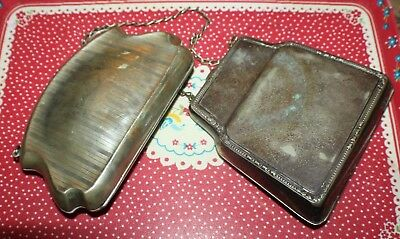 Two Lovely Large Victorian EPNS Lady's Finger Purses with Lining and Chains
