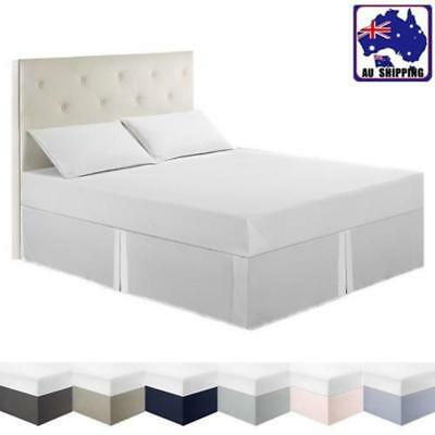 Solid Color Bed Skirt Dust Ruffle Easy Fit Wrap Queen King Full Twin Size Cover