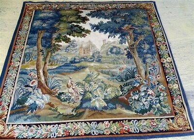 French antique Aubusson tapestry 19th-century heron and volatiles