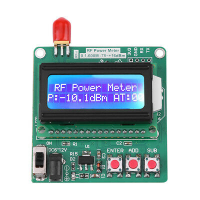 Digital RF Power Meter 1-600MHz Radio Frequency Attenuation Value LCD Backlight