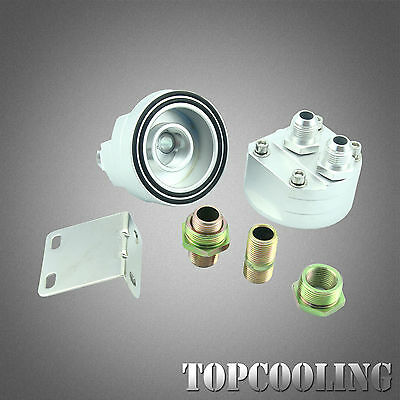 Universal AN10 Aluminum Oil Filter Relocation Male Fitting Adapter Kits Silver