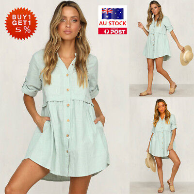 Women Summer Mini Shirt Dress Button Up Ladies Casual Beach Party Swing Dress