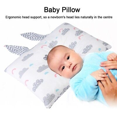 Soft Cotton Baby Pillow with Rabbit Ears Newborn Pillow Protection for Flat Head