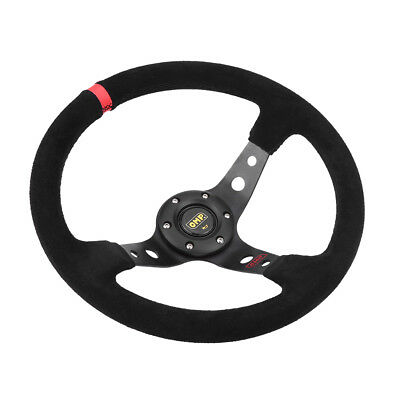 350mm Deep Dish 6 Bolt Suede Leather JDM Sport Racing Drifting Steering Wheel zm