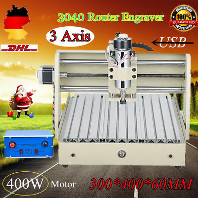 3 Axis Router Engraver 3040 Engraving Drill Mill Wood 3D Cutting USB 400W DE