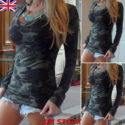 Women Camouflage Long Sleeve Casual T-Shirt Ladies V-neck Stretch Tee Top Blouse