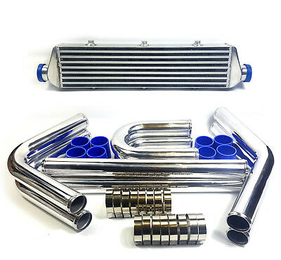 "2.25"" 57mm ALLOY FRONT MOUNT INTERCOOLER With Aluminium Pipe Kit FMIC"