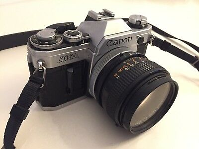 Canon AE-1 35mm SLR Film Camera with FD 50mm f1.4 lens Kit