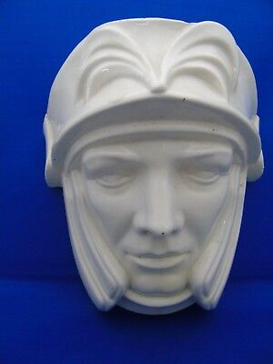 1930's Vintage Cream Ware Wall Pocket In Shape Of Medieval Knight's Head