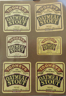 Vintage Australian Beer Labels - Lot Of 6 Tooheys Oatmeal Stout