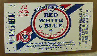 Vintage American Beer Label - Pabst Brewery, Red, White & Blue Lager 12 Fl Oz #3