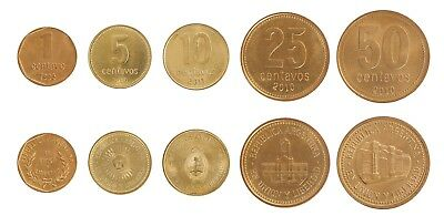 Argentina 1 - 50 Centavos 5 Pieces - PCS Coin Set, 1993 - 2011,Mint,Sun,Building