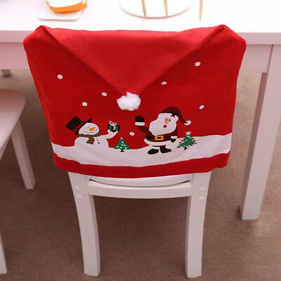 Christmas Decor Santa Snowman Hat Chair Back Cover Red Cap Hat For Xmas New Year