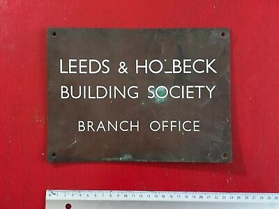 """Antique Heavy Copper  """"leeds Building Society"""" Bank Sign, Enamelled Letters"""