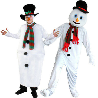 Adult Snowman Costume Christmas Fancy Dress Choose Style Mascot Or Fat Suit