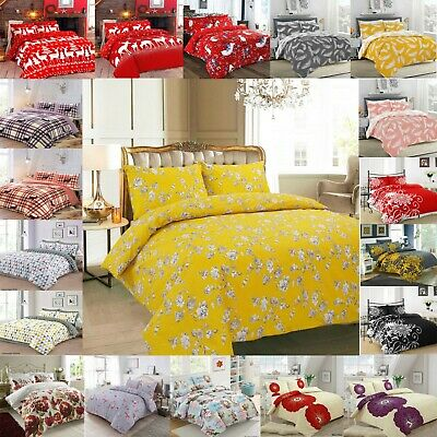 Modern Printed Poly Cotton Duvet Quilt Cover with Pillow Cases Bedding Set Sizes