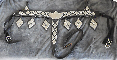 Vintage Ted Flowers Parade Chest Breast Collar Stainless Silver Conchos & Drops