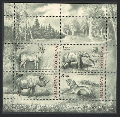 Moldova Anancus Rhinoceros Sabre-toothed Cat Extinct Fauna MS issue 2010 MNH