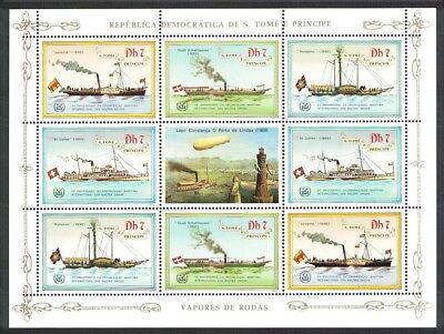 Sao Tome Ships Steamers Zeppelin Sheetlet of 8v MNH SC#754