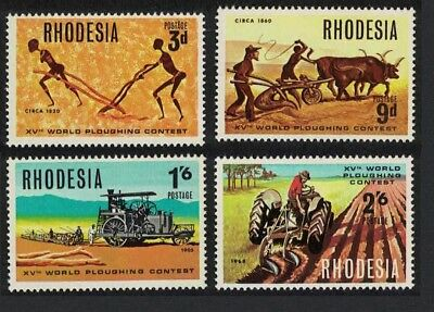Rhodesia Tractors Cattle 15th World Ploughing Contest Norton Rhodesia 4v MNH