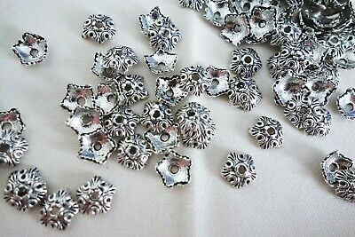 50 Antique Silver Coloured 10mm x 2mm 5-Point Bead Caps #bc0129