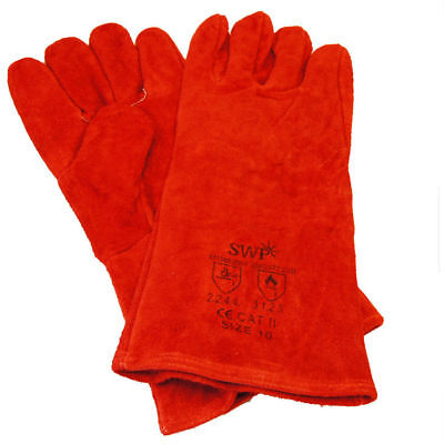 Red Superior Mig TIG Welding Gauntlets Protective Gloves Heat Resistant Leather