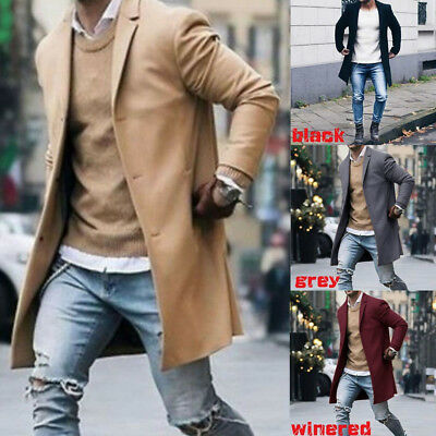 New Fashion Men's Wool Coat Winter Trench Coat Outwear Overcoat Long Jacket