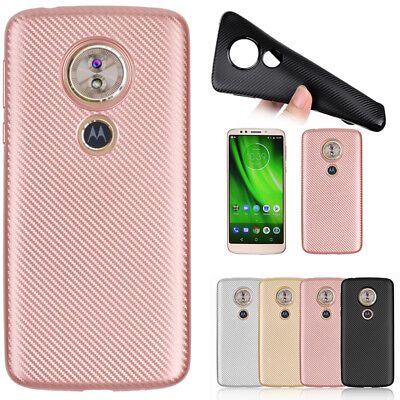 ShockProof Silicone Carbon Fiber Soft Rugged Case Cover for Motorola Moto G6Play