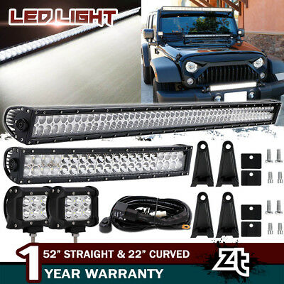 "52INCH +22"" LED Light Bars Combo +4"" CREE PODS OFFROAD SUV 4WD ATV JEEP FORD 50"""