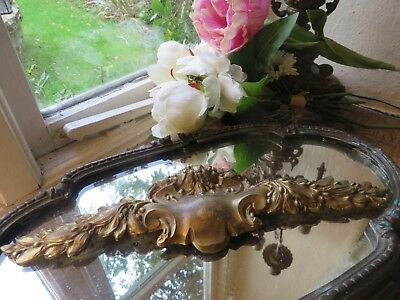 DELIGHTFUL ANTIQUE FRENCH SOLID BRASS LAUREL SWAG MOUNT 1800's