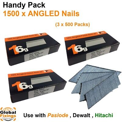 1500 mixed pack- size 32mm,38mm,64mm 16g ANGLED 20° - for Dewalt,Paslode,Hitachi