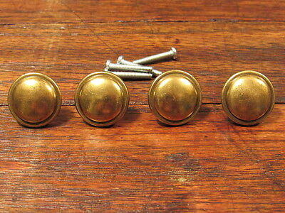 "4 Vintage 1"" Round Brass Cabinet Knobs Drawer Pulls NOS With Screws"
