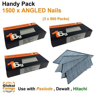 1500 mixed pack- size 45mm,50mm,64mm 16g ANGLED 20° - for Dewalt,Paslode,Hitachi