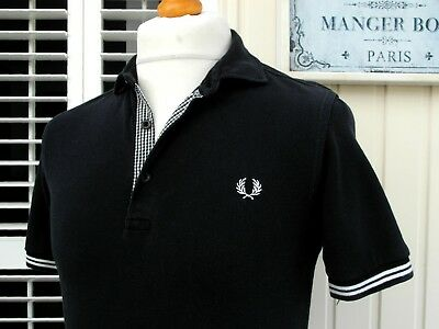 Fred Perry Black Gingham Trim Slim Polo - S/M - Ska Mod Scooter Casuals Workwear