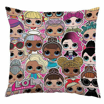 Childrens Lol Print Cushion Kids Novelty Surprise Dolls Friend Bedroom Pillow