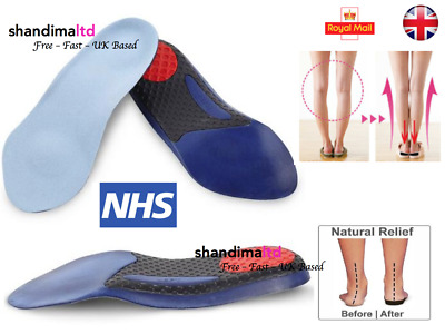 3/4 Plantar Fasciitis Heel Fallen Arches Flat Feet Orthotic Arch Support Insoles