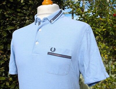 Fred Perry Sky Blue Tape Trim Slim Oxford Polo - XL - Ska Mod Scooter Casuals