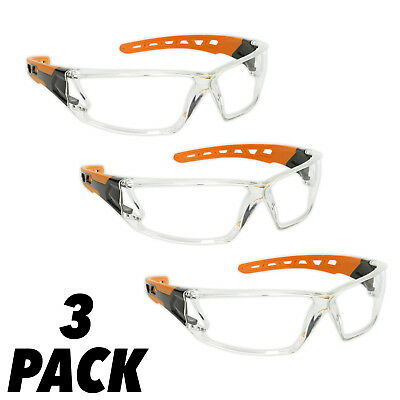 3pk Sealey Clear Polycarbonate Safety Glasses Spectacles - Anti-Scratch Lenses