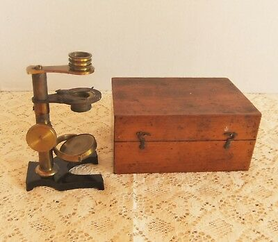 Antique Brass Dissecting Microscope in Fitted Wood Box