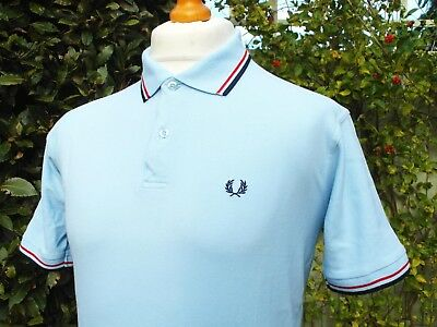 """M1200 Fred Perry Ice Blue Twin Tipped Polo - S/M - 40"""" - Ska Mod Scooter Casuals"""