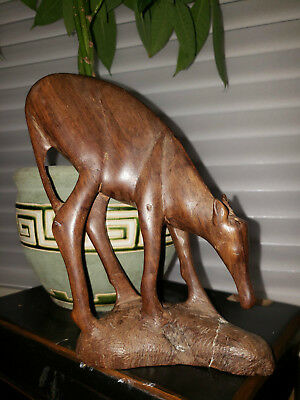 Vintage Carved WOOD GAZELLE / ANTELOPE / DEER Statue Figure TRIBAL African