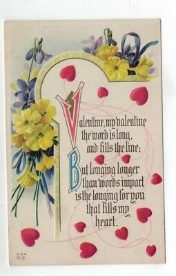Antique Embossed Valentines Day Post Card Purple & Yellow Flowers Red Hearts