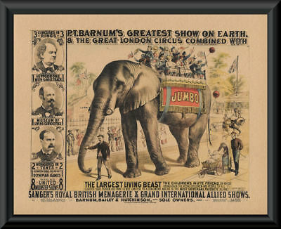 Jumbo The Elephant Advertisement Poster Reprint On 100 Year Old Paper *P176