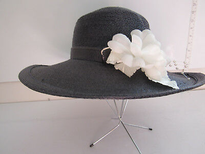 24bfd164819 VINTAGE FRANK OLIVE Designer Straw Woman s Hat Black With Flowers ...