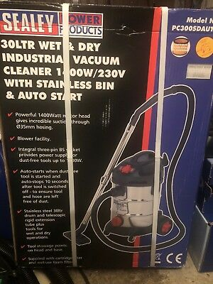 Sealey PC300SDAUTO Vacuum Cleaner Industrial 30ltr Stainless Bin Auto Start 1...