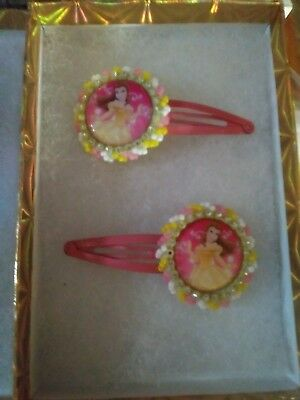Authentic Native American Indian Beaded Hair Clips ~ pink yellow princess beads