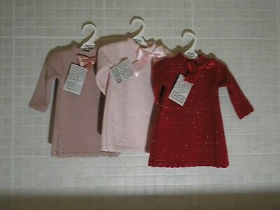 PEX Spanish Style Baby Girl Knitted Dress  Bow Red Pink Dusky 6-9 18-24 months